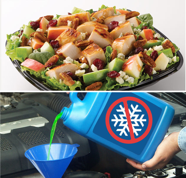 You can find the same agent used in lubes and anti-freeze in your friendly fast-food salad 7V